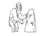 Dibujo de Pitture rupestri uomo preistorico