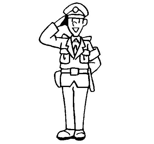 Disegno di poliziotto che saluta da colorare - Polizia ufficiale di polizia da colorare foglio da colorare ...