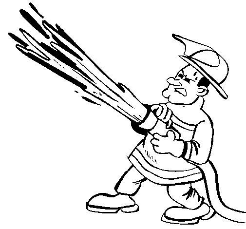 Disegno di Pompiere con idrante  da Colorare