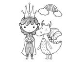 Disegno di Principe e drago da colorare