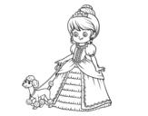 Disegno di Principessa con cagnolino da colorare
