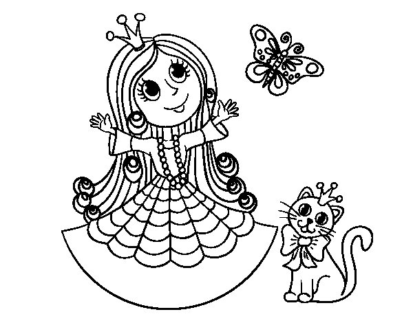 Disegno di Principessa con il gatto e la farfalla da Colorare