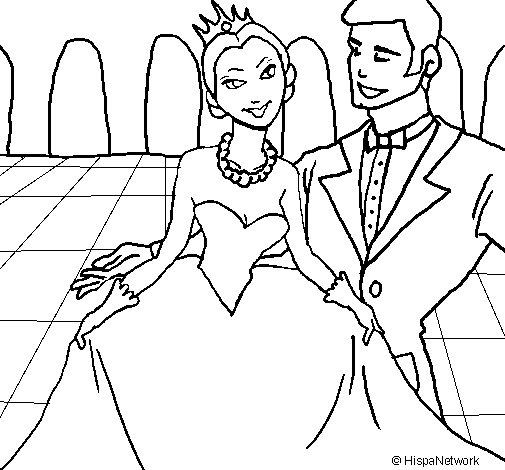 Disegno di Principessa e principe al ballo  da Colorare