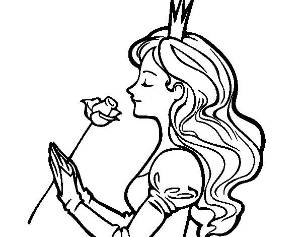 Disegno di Principessa e rosa  da Colorare