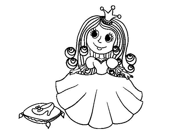Disegno di  Principessa e scarpetta di vetro da Colorare