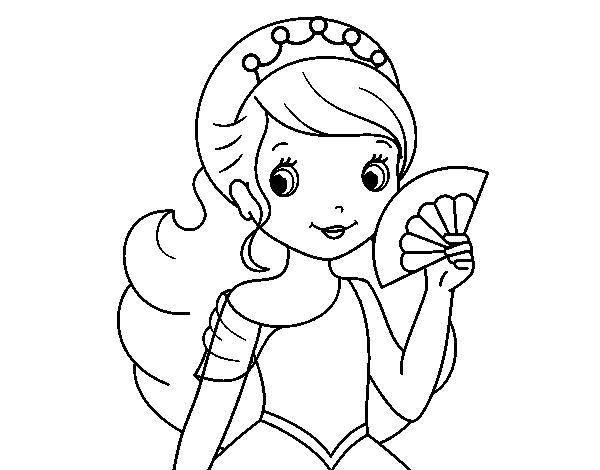 Dibujando Princesas Disney Para Niños Y Niñas: Disegno Di Principessa E Ventaglio Da Colorare