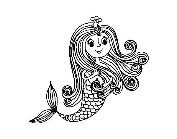 Disegno di Principessa sirena da Colorare