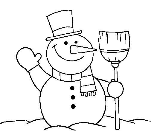 Disegno di pupazzo di neve con scopa da colorare - Pupazzo di neve pagine da colorare ...