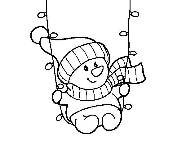 Disegno di pupazzo di neve oscillante da colorare - Pupazzo di neve pagine da colorare ...