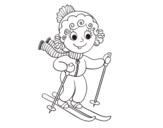 Disegno di Ragazza con gli sci da colorare