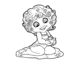 Disegno di ragazza con granchio da colorare