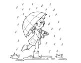 Disegno di Ragazza con l'ombrello sotto la pioggia da colorare