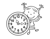 Disegno di Ragazza con orologio da colorare