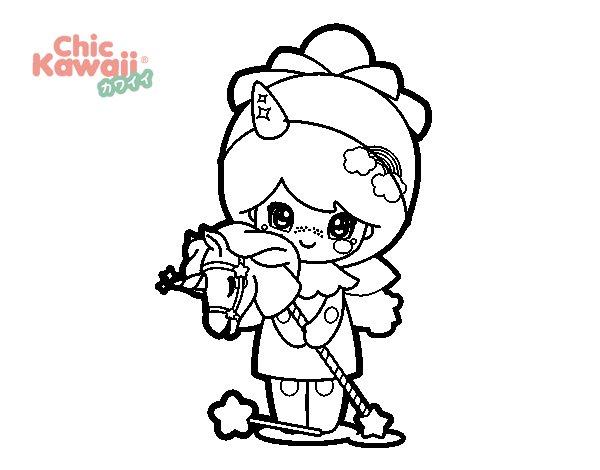 Disegno di ragazza mascherata kawaii da colorare for Foto di disegni kawaii