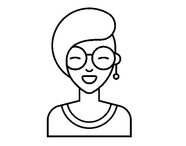 Disegno di Ragazza moderna sorridente da Colorare
