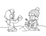 Disegno di Ragazze che giocano con la neve da colorare