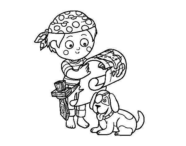 Disegno di Ragazzo pirata con il suo cane da Colorare