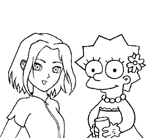 Disegno di Sakura e Lisa da Colorare