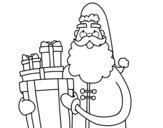 Disegno di Santa Claus con i regali da colorare