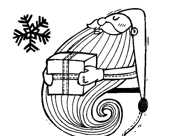Disegno di Santa con regalo da Colorare