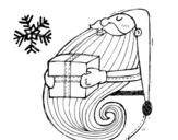 Dibujo de Santa con regalo