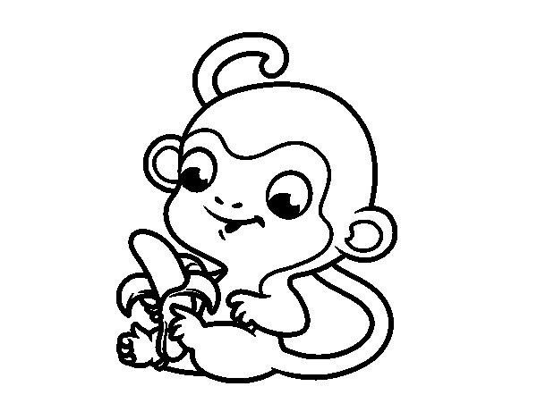 Disegno di Scimmia con banana da Colorare