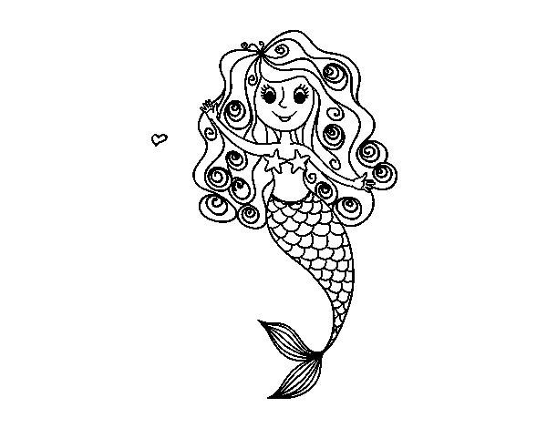 Disegno di sirena con riccioli da colorare - Sirena libro da colorare ...