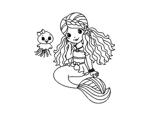 Disegno di Sirena e medusa da Colorare