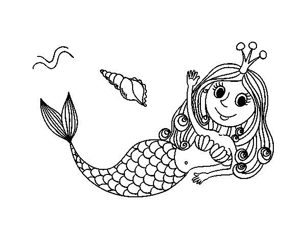 Disegno di Sirena salutando da Colorare