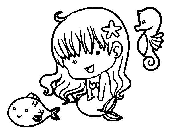 Disegno di Sirenetta e le sue amiche da Colorare