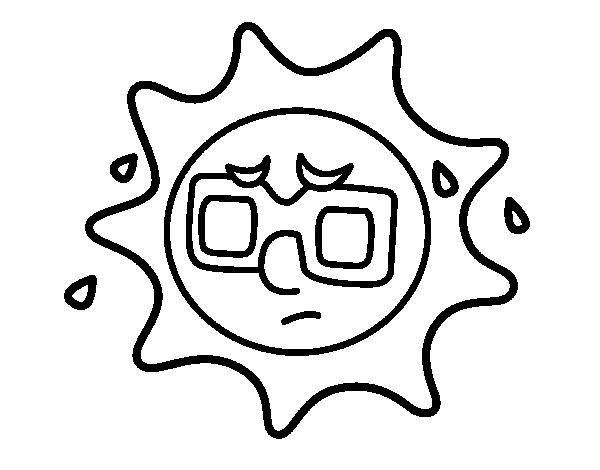 Disegno di sole con sudore da colorare for Disfare la valigia in inglese