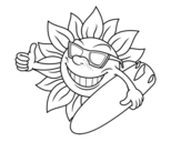 Disegno di Sole surfer da colorare