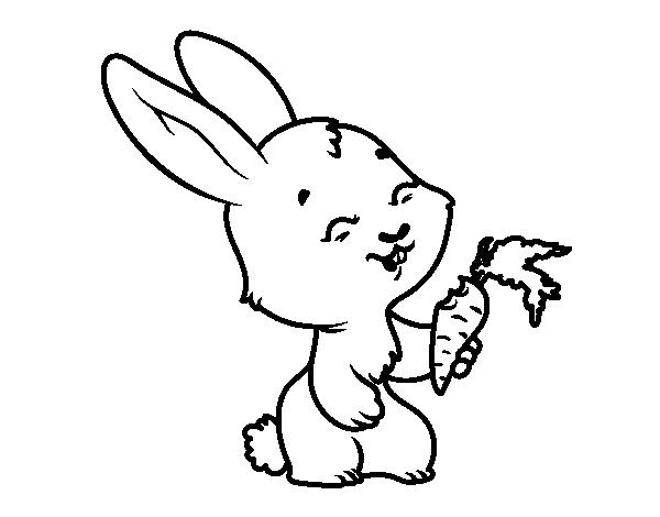 Disegno di sorridente coniglietto da colorare for Disfare la valigia in inglese