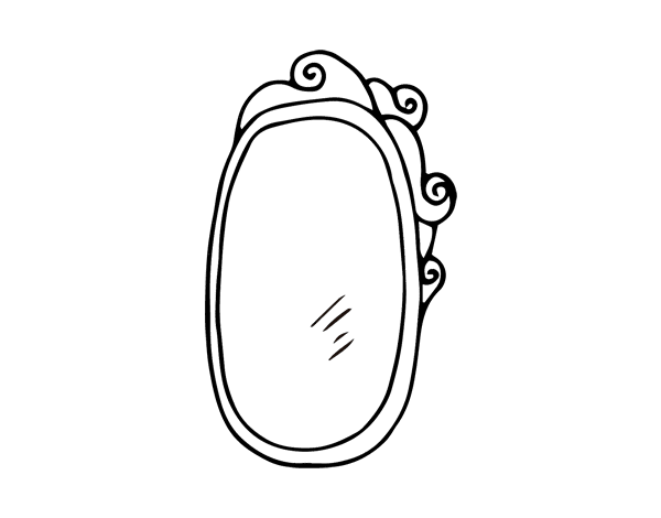 Disegno di specchio incorniciato da colorare for Disfare la valigia in inglese