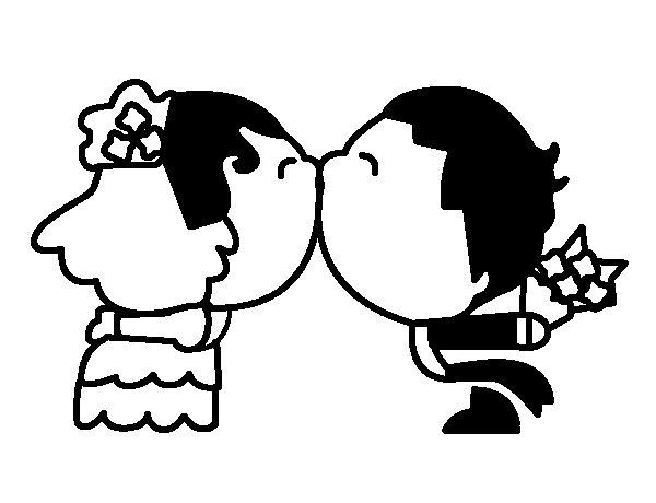Disegno di sposi bacio da colorare for Disegno sposi