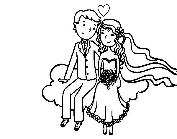 Disegno di Sposi in una nuvola da Colorare