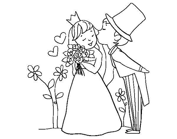 Disegno di sposi principi da colorare for Disegni per matrimonio