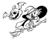 Disegno di Strega di Halloween e zucca da colorare