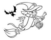 Disegno di Strega e gatto nero che volano da colorare