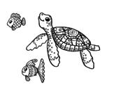Disegno di Tartaruga di mare con pesce da colorare