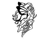 Disegno di Tatuaggio di fata da colorare