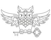 Disegno di Tatuaggio di gufo con chiave da colorare