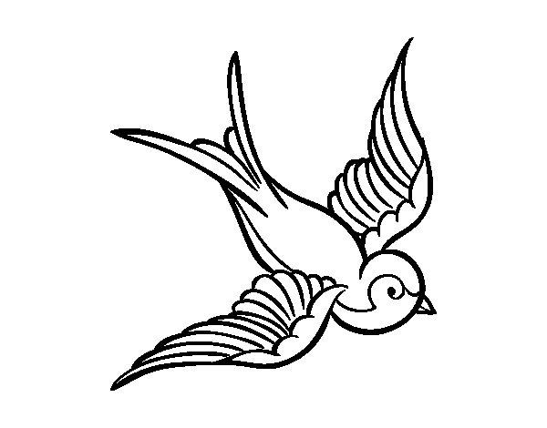Disegno di tatuaggio di uccello da colorare - Semplici disegni di uccelli ...
