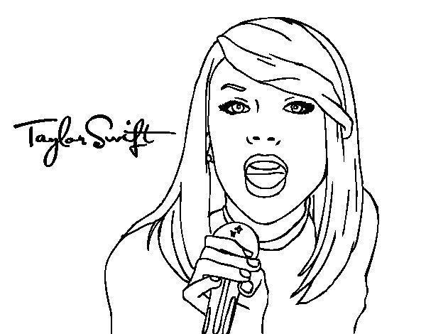 Disegno di Taylor Swift cantando da Colorare