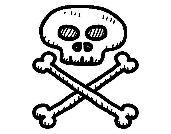 Disegno di Teschio di pirata da Colorare