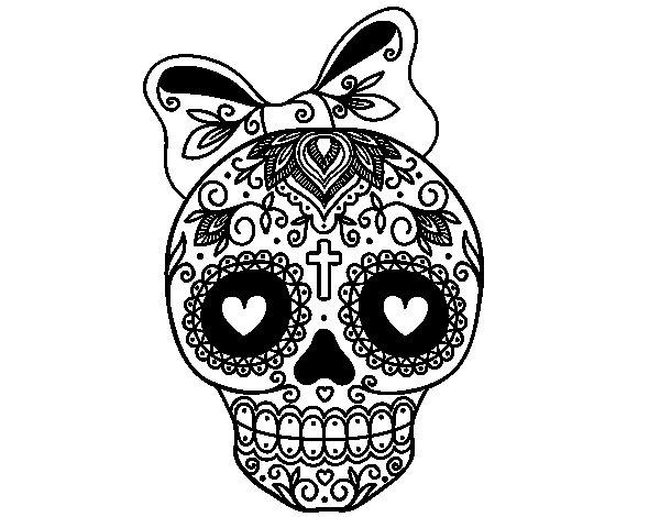Disegno di teschio messicano infiocchettata da colorare for Teschi da disegnare