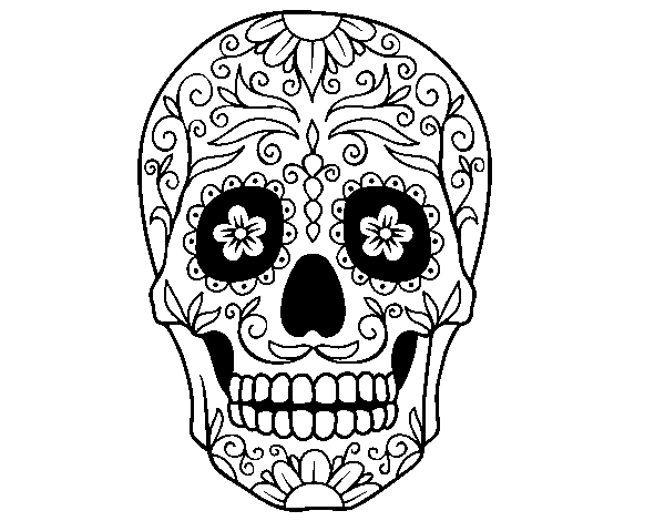 Disegno di teschio messicano da colorare for Teschi da disegnare