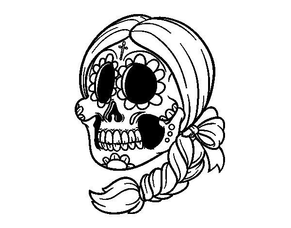 Disegno di teschio messicanocon le treccia da colorare for Teschi da disegnare