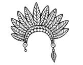 Disegno di Testa corona di piume indiano da colorare