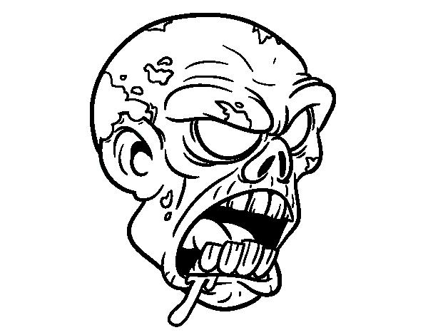 Zombie Face Line Drawing : Disegno di testa zombie da colorare acolore